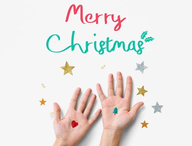 Frohe weihnachten und ein glückliches neues jahr familienfeiertags-festival-konzept