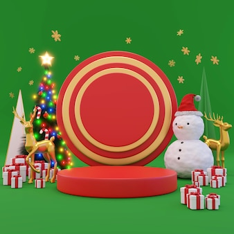 Frohe weihnachten und ein glückliches neues jahr., geschenkbox, leere runde realistische bühne, podium. winterurlaub hintergrund. website-header oder banner