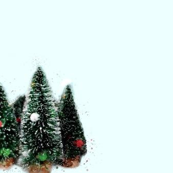 Frohe weihnachten und ein glückliches neues jahr grußkarte aquarell. drei weihnachtsbäume auf hellem hintergrund, textfreiraum