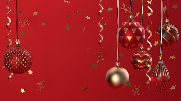 Frohe weihnachten und ein glückliches neues jahr. weihnachtsfestlicher hintergrund mit realistischen objekten. urlaubselemente, 3d-rendering und realismus. grußkarte, banner, web-poster.