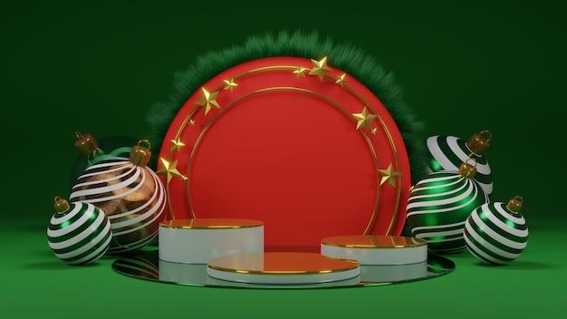 Frohe weihnachten und ein gutes neues jahr. abstraktes minimalistisches design, leere runde realistische bühne, podium. 3d-rendering.