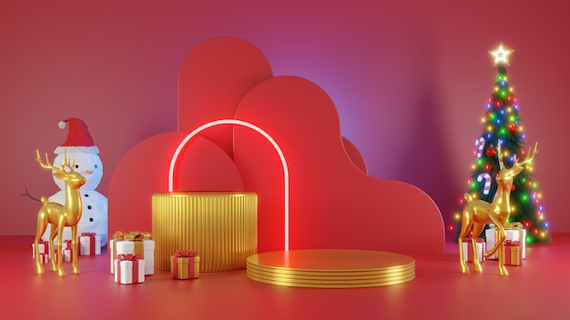 Frohe weihnachten und ein gutes neues jahr. abstraktes minimalistisches design, neonlicht-weihnachtsbäume, geschenkbox, leere runde realistische bühne, podium. 3d-rendering.