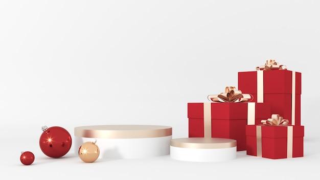 Frohe weihnachten und ein gutes neues jahr grußkarte mit podium