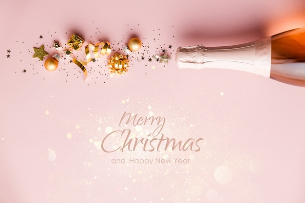 Frohe weihnachten und ein gutes neues jahr grußkarte mit schriftzug und champagnerflasche