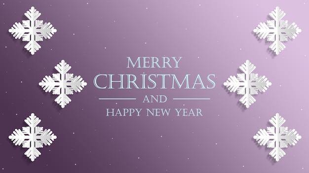 Frohe weihnachten und frohes neues jahr karte mit realistischen schneeflocken