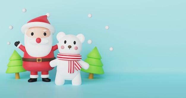 Frohe weihnachten, weihnachtsfeier mit polar- und weihnachtsmann-klausel für weihnachtskarte, weihnachtshintergrund und banner. .