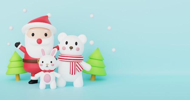 Frohe weihnachten, weihnachtsfeier mit weihnachtsmann, kaninchen und polar für weihnachtskarte, weihnachtshintergrund und banner. .