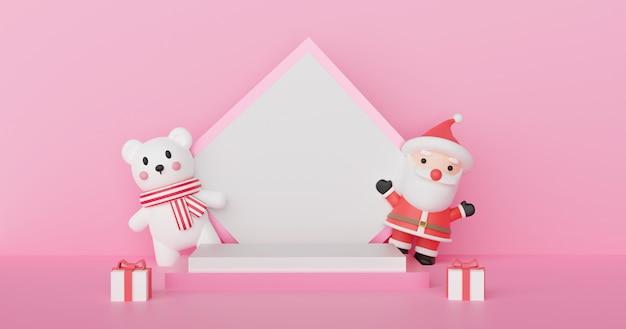 Frohe weihnachten, weihnachtsfeier mit weihnachtsmann und eisbär mit podium für ein produkt. 3d-rendering .