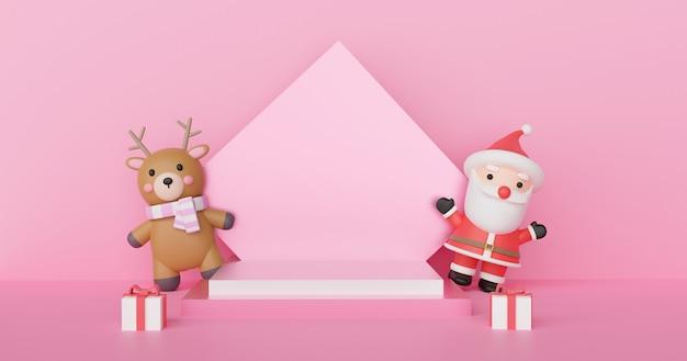 Frohe weihnachten, weihnachtsfeier mit weihnachtsmann und rentier mit podium für ein produkt. 3d-rendering .
