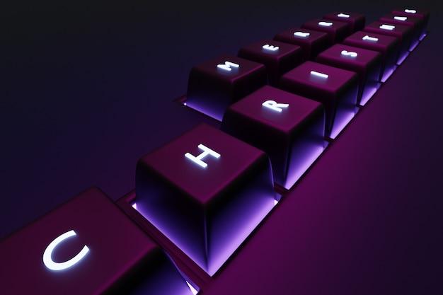 Frohe weihnachtsgrüße der 3d illustration geschrieben auf rosa beleuchteten tastaturtasten. frohes neues jahr aus der it-sphäre. illustration des symbols des neuen jahres.