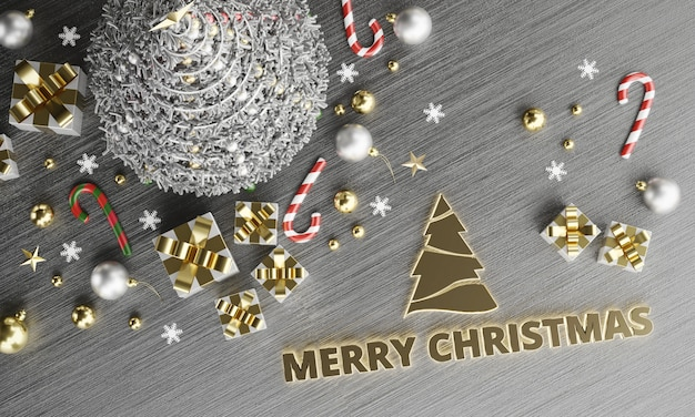 Frohe weihnachtstexte im topview hintergrund. 3d-rendering.