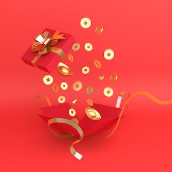 Frohes chinesisches neujahrsdekor mit geschenkbox und goldmünze