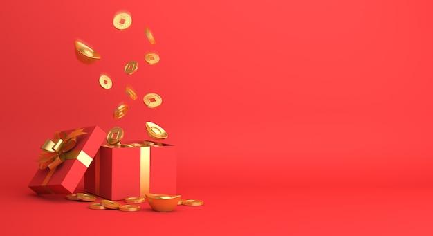 Frohes chinesisches neujahrsdekor mit geschenkbox und goldmünzen