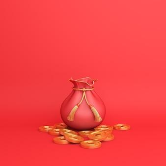 Frohes chinesisches neujahrsdekor mit goldmünzen und geldbeutel