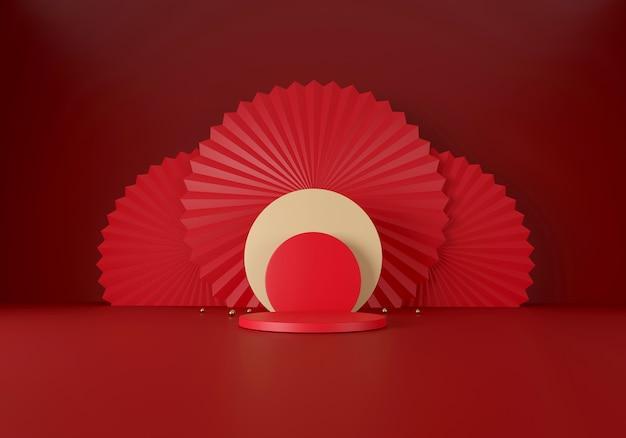 Frohes chinesisches neujahrskonzept. minimale szene mit geometrischen formen.