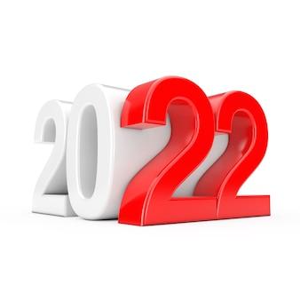 Frohes neues 2022-jahr-zeichen als würfel auf weißem hintergrund. 3d-rendering