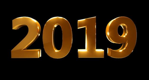 Frohes neues jahr 2019 auf schwarzem hintergrund. goldene 3d-zahlen