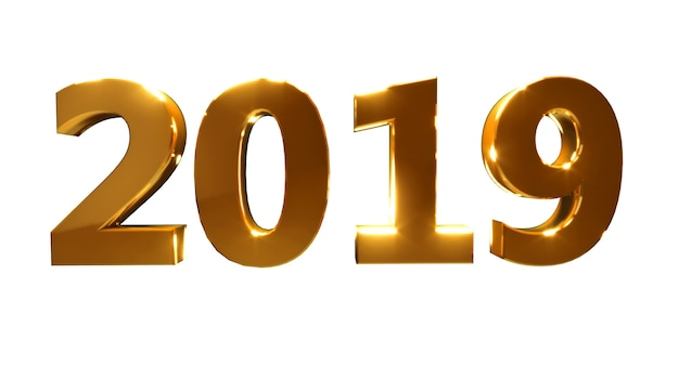 Frohes neues jahr 2019 auf weißem hintergrund. goldene 3d-zahlen