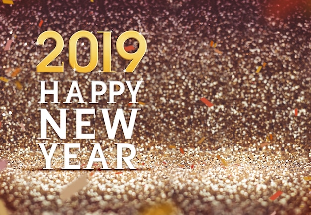 Frohes neues jahr 2019 im goldfarbzusammenfassungs-funkelnhintergrund