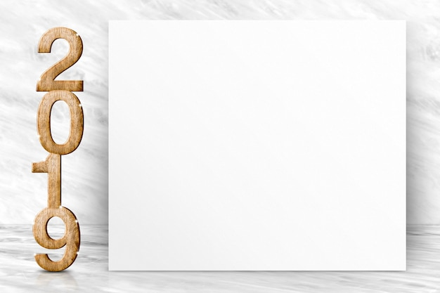 Frohes neues jahr 2019 mit leeren weißen plakatgrußkarte