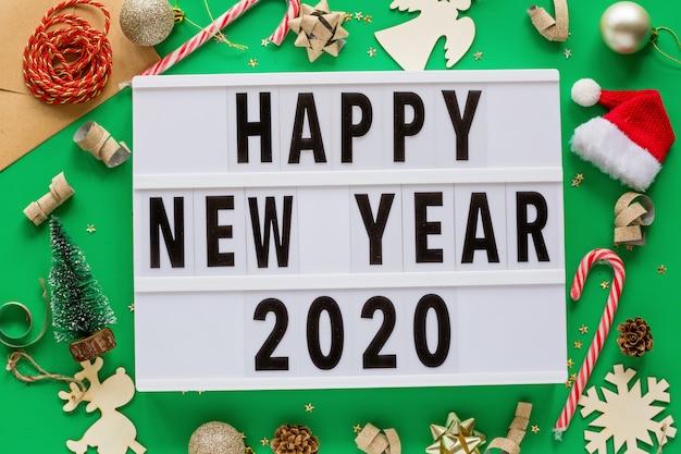 Frohes neues jahr 2020 flatlay