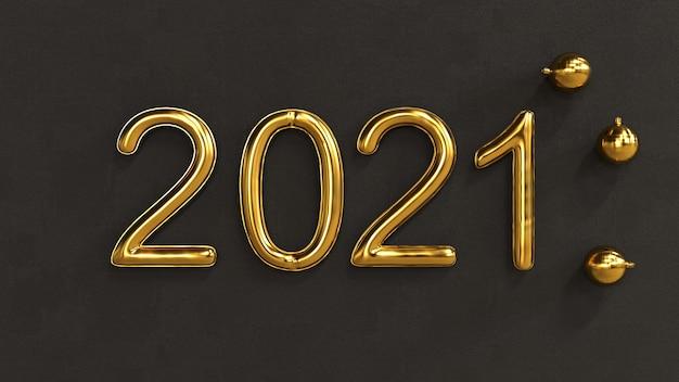Frohes neues jahr 2021 auf einem schwarzen konkreten hintergrund