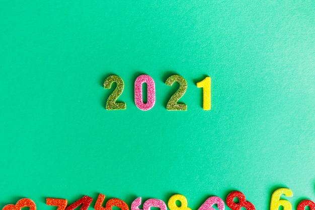 Frohes neues jahr 2021 flach liegen, glitzernummern