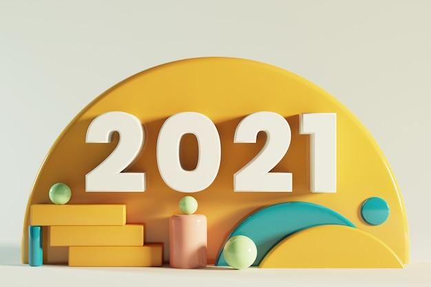 Frohes neues jahr 2021 geometrie ornament.