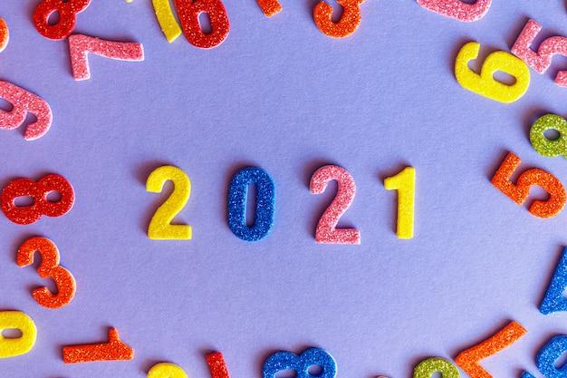 Frohes neues jahr 2021, glitzernummern