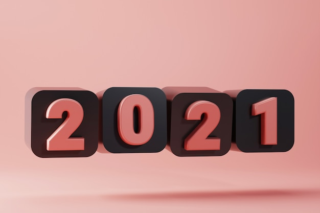 Frohes neues jahr 2021 mit schwarzer runder box.