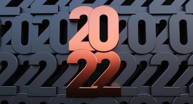 Frohes neues jahr 2022. 3d-darstellung von bronze 2022 jahr auf schwarzem numerischen hintergrund
