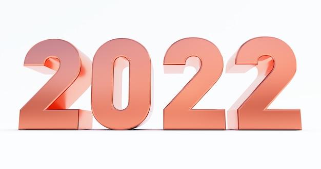 Frohes neues jahr 2022. 3d-darstellung von bronze 2022 jahr isoliert auf weißem hintergrund