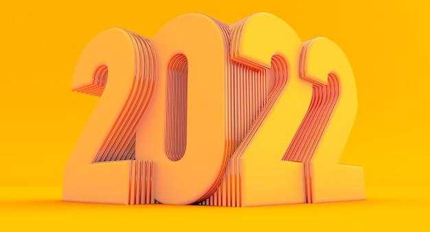 Frohes neues jahr 2022. 3d-darstellung von gelb 2022 jahr auf gelbem hintergrund isoliert