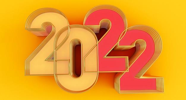 Frohes neues jahr 2022. 3d-darstellung von roten und gelben 2022-jahren isoliert auf gelbem hintergrund