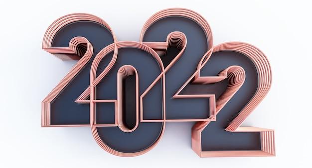 Frohes neues jahr 2022. 3d-darstellung von schwarz und bronze 2022 jahr isoliert auf weißem hintergrund