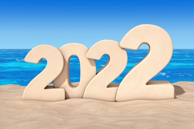 Frohes neues jahr 2022-konzept. 2022 neujahrszeichen am sonnenstrand extreme nahaufnahme. 3d-rendering