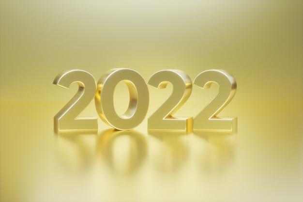 Frohes neues jahr 2022 text goldene 3d-zahlen mit goldenem hintergrund grußkarte banner poster