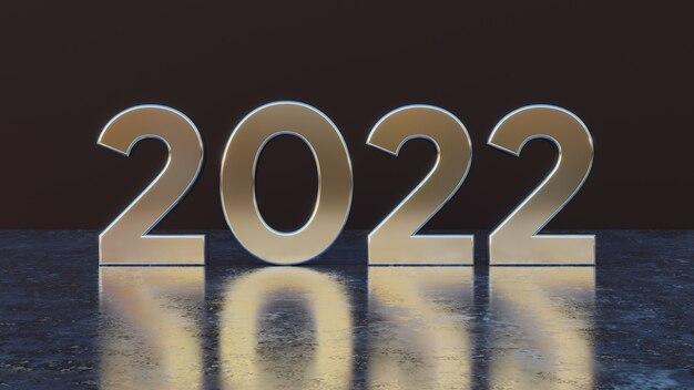 Frohes neues jahr 2022 text metalleffekt 3d-nummern mit schwarzem isoliertem hintergrund für grußkarten