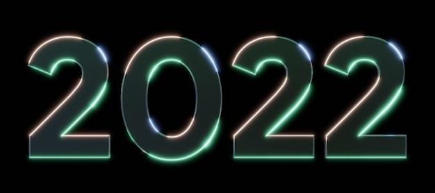 Frohes neues jahr 2022 text neon metalleffekt 3d zahlen mit schwarzem isoliertem hintergrund