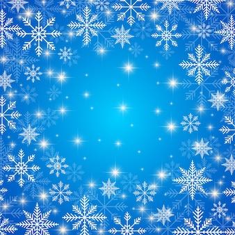 Frohes neues jahr-abbildung. blauer hintergrund mit goldenen schneeflocken.