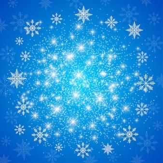Frohes neues jahr-abbildung. blauer hintergrund mit weißen schneeflocken.