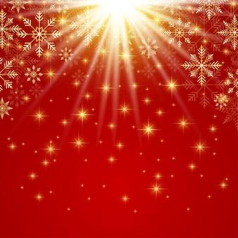 Frohes neues jahr-abbildung. roter hintergrund mit goldenen schneeflocken.