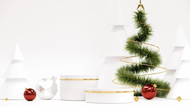 Frohes neues jahr hintergrund mit podium weihnachtsbaum und geschenken
