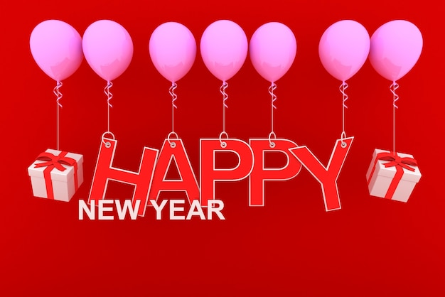 Frohes neues jahr-konzept mit rotem papier geschnitten und weißen geschenkboxen und roten bändern auf rosa ballon mit rotem hintergrund