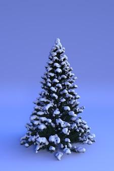 Frohes neues jahr oder weihnachten hintergrund 3d winterdekorationen schneebedeckter weihnachtsbaum vertikal