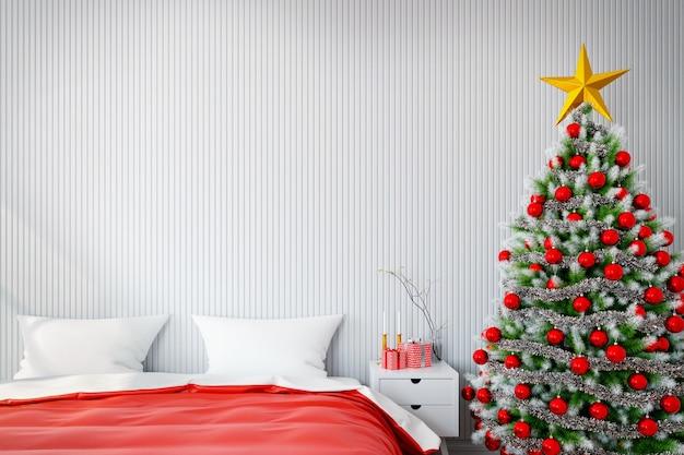 Frohes neues jahr und weihnachtsbaum schmücken auf modernen bettraum.