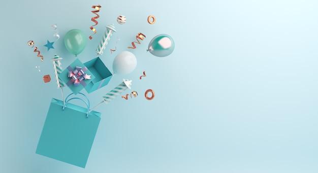 Frohes neues jahr verkaufsdekoration mit einkaufstasche feuerwerk luftballons konfetti