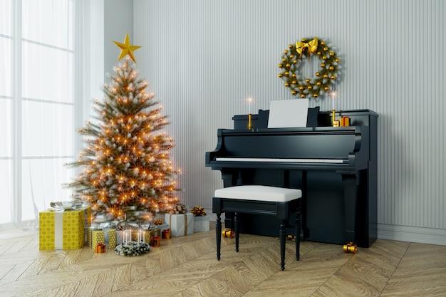 Frohes neues jahr, weihnachtsbaum schmücken und klavier auf weißer wand und holz