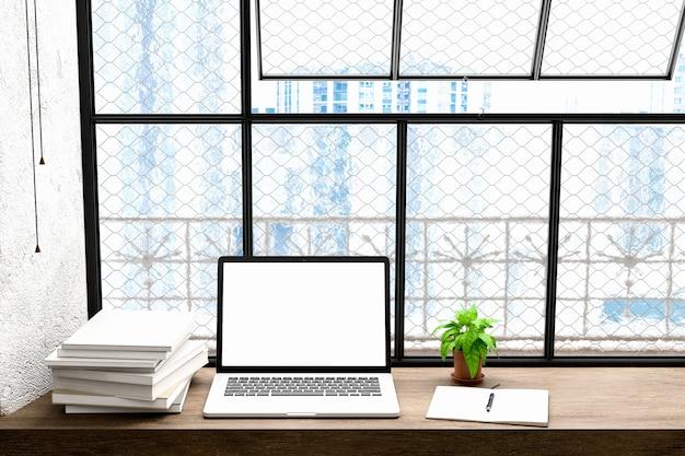 Frontansicht des workparks mit leeren laptop-bildschirm, leere rahmen und notebook in modren hause büro work.for mock up, 3d-illustration