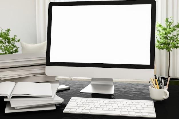 Frontansicht des workparks mit leeren weißen computerbildschirm, kaffeetasse und buch im hausarbeit. attrappe, lehrmodell, simulation,. 3d übertragen